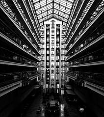 untitled . (helmet13) Tags: leicaxvario bw architecture people elevator silhouettes windows hotel lobby magdeburg germany women man ild aoi peaceaward world100f