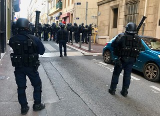 Behind the Police lines during 'Yellow-Vest' march
