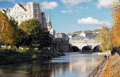 North up the Avon (LeftCoastKenny) Tags: england day12 bath riveravon water architecture buildings trees people