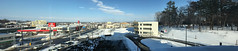 Panorama Eastwards from the Kitahiroshima City Hall Building 1 (sjrankin) Tags: 18february2019 edited kitahiroshima hokkaido japan snow ice weather sky cityhall clouds buildings parkinglot cars roads stores panorama