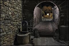 - LA NOCHE - (Tomas Mauri) Tags: santfruitos lanoche catalunya tunel fuente noche persona escalera arbol calle piedra casa españa fujifilmxt2