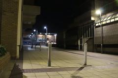 Night Shoot ,57 (doojohn701) Tags: buildings court bollards streetlighting concrete vegetation shadow shops windows glass bexleyheath dusk dark night uk precinct