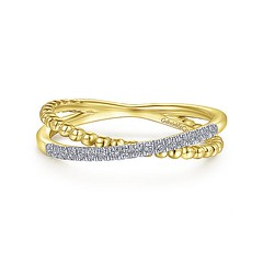 Split Shank Ring Features Strands Of Sparkling .09Ct Pave Diamonds And Overlapping Beaded 14k Yellow Gold (diamondanddesign) Tags: splitshankringfeaturesstrandsofsparkling09ctpavediamondsandoverlappingbeaded14kyellowgold lr51463y45jj gabriel ny gaby rings bujukan 009 ct fashion diamond 14k yellow gold front