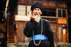 A portrait of Miao's old man with pipe (snowpine) Tags: street streetportrait people portrait china chinese guizhou pipe smoking