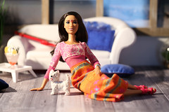 the beachhouse babes: anjali (photos4dreams) Tags: dress barbie mattel doll toy photos4dreams p4d photos4dreamz barbies girl play fashion fashionistas outfit kleider mode puppenstube tabletopphotography diorama scenes 16 canoneos5dmark3 madetomove mtm darkhair dunkelhaarig