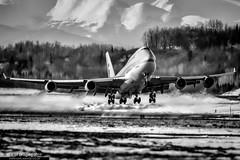 HL7608 - Boeing 747-4B5BCF - Korean Air Cargo (KarlADrage) Tags: hl7608 hl7481 vtaid boeing747400 boeing7474b5bcf anc panc koreanaircargo anchorage tedstevensintl alaska blackandwhite jumbo freighter