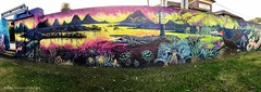 Tweed Shield Volcano & Jurassic Flora & Fauna - Ages of the Tweed Mural, Commercial Road, Murwillumbah, NSW (Black Diamond Images) Tags: jurassic agesofthetweedmural commercialrd murwillumbah nsw commercialroad jurassicperiod megafauna earthlearning mural art painting floodmitigationwall murwillumbahartstrail appleiphone7plus iphone7plusbackdualcamera iphone7plus phone7plus iphone appleiphonepanorama panorama iphonepanorama appleiphone7pluspano tweedshieldvolcano jurassicflora jurassicfauna