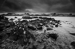 Isle of Whithorn 2 (andy_AHG) Tags: isleofwhithorn scotland galloway wigtownshire northernbritain outdoors rural countryside history legend folklore nikond300s beach bay sand rocks shore sea tide solwayfirth irishsea rock sky landscape ocean monochrome