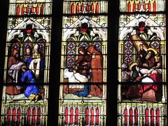 Medieval scenes, stained glass window, Église Saint-Bonaventure, Lyon, France (Paul McClure DC) Tags: lyon france july2017 auvergnerhônealpes church historic architecture presquîle stainedglass