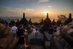 Sun- Worshippers (TigerPal) Tags: borobudur indonesia indonesian tourist travel trip vacation ancient wonder buddhist buddhism historic historical architecture temple sunrise dawn traveller silhouettephotography silhouette