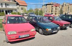 1996 Kia Pride 1.3 GLXi, 1989 Fiat Uno & 2003 Zastava Koral 1.1 (FromKG) Tags: fiat yugo zastava kia uno pride 13 glxi 11 blue red car kragujevac serbia 2019