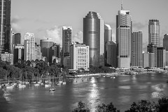 Brisbane Cityscape (Lance CASTLE) Tags: hdr snapbrisbane brisbanecity skyline brisbaneriver landscape outdoor outside january2019 city blackandwhite bw rivercity focus canon5dmark3 geotagged metro summer mytown
