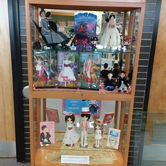 Mary Poppins dolls in my library curio 1-2019 (TrueFan) Tags: marypoppins dolls library tonner mattel horsman funkopop disneystore
