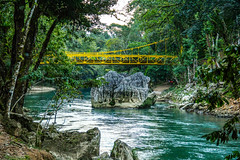 A Yellow Bridge Overpassing the Cahabon River (wuestenigel) Tags: trees nature noperson bridge yellow river rocks water wasser natur wood holz fluss tree baum summer sommer landscape landschaft travel reise leaf blatt outdoors drausen flora park keineperson beautiful wunderschönen stream strom environment umgebung lake see tropical tropisch scenic szenisch brücke