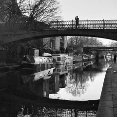 Regent's canal (a.pierre4840) Tags: olympus omd em10 mzuiko 25mm f18 squareformat 11 bw blackandwhite monochrome noiretblanc canal london england reflections bridge