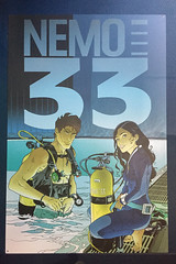Nemo 33, Largo Winch style (Arne Kuilman) Tags: comic bd pool zwembad belgië diving scubadiving centre indoorpool bandedessinée style nemo33 strip plaque sign bord drawing largowinch philippefranq uccle chassécroisé