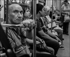 3_DSC6717 (dmitryzhkov) Tags: urban city everyday public place outdoor life human social stranger documentary photojournalism candid street dmitryryzhkov moscow russia streetphotography people man mankind humanity bw blackandwhite monochrome metro passenger lowlight