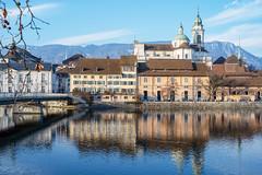 Solothurn Old Town and  St. Urs Cathedral (Bephep2010) Tags: 2019 7markiii aare alpha bergkette fluss hexanonar40mmf18 ilce7m3 jura kathedrale konica lenstagger sony stursundviktor stursenkathedrale winter cathedral mountainrange river ⍺7iii solothurn kantonsolothurn schweiz ch