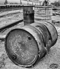 55 Gallon Empty or Full (Kool Cats Photography over 11 Million Views) Tags: drums barrels 55gallon blackandwhite bw artistic architecture oklahoma oklahomacity outdoor rusted landscape photography ricohgrii