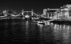 The Pool of London at Night (cybertect) Tags: canarywharf carlzeissplanart50mmf14mm hmsbelfast haysgalleria london londonbridgecitypier londonse1 morelondon riverthames se1 sonya7ii towerbridge bridge night pier river ship england unitedkingdom gb