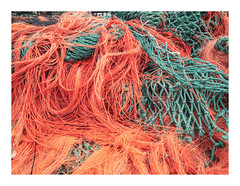 170726_111801_oly-PEN-f_oostende_the crystal ship 15/55 (A Is To B As B Is To C) Tags: aistobasbistoc b belgië belgium oostende ostend haven harbour hendrikbaelskaai relics fishing net orange green fragment industrial industrialheritage olympus penf color thecrystalship