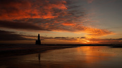 Rattray Head Lighthouse (PeskyMesky) Tags: aberdeenshire rattrayhead lighthouse sunrise sunset landscape red sky water refection canon canon5d eos