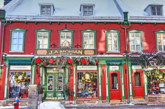 Rue Saint Jean (albyn.davis) Tags: stores storefronts building architecture city urban quebec canada snow winter holidays decorcations christmas colors bright vivid vibrant red windows doors