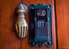 2018 - Mexico - Oaxaca - Door Knocker (Ted's photos - Returns late Feb) Tags: 2018 cropped mexico nikon nikond750 nikonfx oaxaca tedmcgrath tedsphotos tedsphotosmexico vignetting knocker doorknocker hand brass brasshand oaxacaoaxaca doorbell