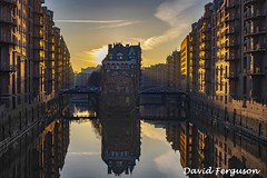 Hafen City at Sunset (Daveoffshore) Tags: germany hamburg hafen city harbour sunset building canal sunlight reflection water