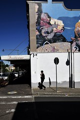 mountain montage (gro57074@bigpond.net.au) Tags: reiniszusters mountainboulders mountainmontage 2019 april guyclift f90 2470mmf28 tamron d850 nikon street shop sky blue contrast shadow light man streetphoto color colour threesistersmural mural threesisters streetart bluemountains katoomba candidphotography candidstreet streetphotography