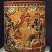 Vase with warriors and captive, Chama style, Late Classic Maya, 600-800 CE Mexico.