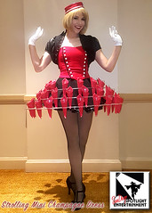 Strolling Champagne Dress (SDSpotlightEnt) Tags: strolling champagne dolls mini skirt hoop dress dessert old hollywood los angeles san diego party entertainment event corporate tradeshow trade show