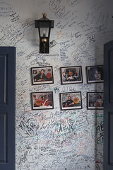 Patrons are encouraged to sign the walls. Older inscriptions fade with time and are overwritten by newer words. La Bodeguita del Medio. (Gerald Lau) Tags: holguin cuba 2019 labodeguitadelmedio words time