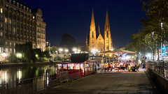 Strasburg Cafe (radkuch.13) Tags: europe france strasburg reformed church night nightlights cafe river water sony sonyalpha a6000