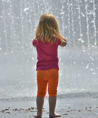Contemplating Her Future (Scott 97006) Tags: girl kid young blonde cute water fountain contemplation thinking decision