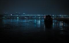 Bratislava Donau at Night (MAKER Photography) Tags: bratislava donau river night reflection lights light blue boat bridge sky smartphone phone mobilephone mobile oneplus 6