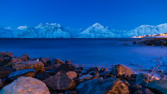 Lyngen Alps Northern Lights (pboolkah) Tags: water ocean rocks mountains alps snow longexposure sky