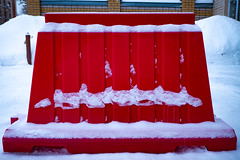 A red fence in snow on a street in winter (Filmostar Media) Tags: architecture closed construction day design entrance exterior fence gate nobody outdoor private red road snow street structure style urban white winter gates security car industrial parking property storage