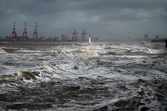 Storm Erik (PentlandPirate of the North) Tags: newbrighton merseyside wirral storm erik perchrock lighthouse mersey docks waves