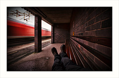 Railway dreams (david.hayes77) Tags: actonbridge cheshire 2019 boots hikingboots dbcargo lightengine arty class66 shed 66034 motionblur shelter bench waitingshelter red 0f23 selfie davidhayes wcml westcoastmainline