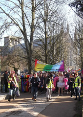 Hampshire Pride (catrionatv) Tags: winchester winchestercathedral outerclose footpath tower cathedral trees paving branches flags banner marshalls march lbgt sunshine