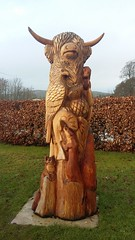 Wooden Carving, Contin, Feb 2019 (allanmaciver) Tags: wooden carving highland cow thistle salmon fox otter eagle ross shire scotland highlands allanmaciver
