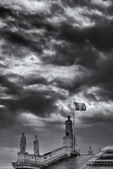 Sky Is Over (sdupimages) Tags: vertical composition architecture paris rue street silhouette statue landscape skyscape monochrome nb bw noirblanc noiretblanc blackwhite nuages clouds sky ciel