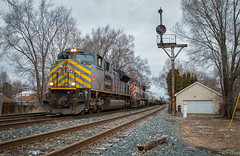 Rare Stripes (Carlos Ferran) Tags: kcs kansas city southern emd sd70ace bcol bc rail cn canadian national csx q351 train trains railroad road troy ohio oh signal signals bo cpl rare stripes permacloud freight ge c449wl
