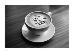 Coffee Moments... (Michael Fleischer) Tags: baresso coffee cup table foam chocolate sidelight cafe´ blackwhite monochrome bokeh