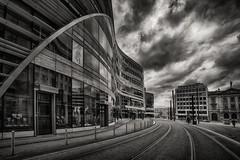 A walk in Düsseldorf (radonracer) Tags: düsseldorf architecture clouds wolken sw bw monochrome