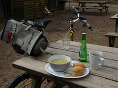 Lunch (cycle.nut66) Tags: lunch stop cafe woods wendover table soup rolls drink moulton tsr tsr27 27 carradice saddlebag brooks b17 saddle rest cycling panansonic lumix lx3 leica summicron