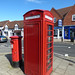 High Street, Knowle - red post box and red phone box