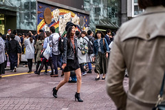 Walking Window Display (burnt dirt) Tags: asian japan tokyo shibuya station streetphotography documentary candid portrait fujifilm xt1 bw blackandwhite laugh smile cute sexy latina young girl woman japanese korean thai dress skirt shorts jeans jacket leather pants boots heels stilettos bra stockings tights yogapants leggings couple lovers friends longhair shorthair ponytail cellphone glasses sunglasses blonde brunette redhead tattoo model train bus busstation metro city town downtown sidewalk pretty beautiful selfie fashion pregnant sweater people person costume cosplay boobs
