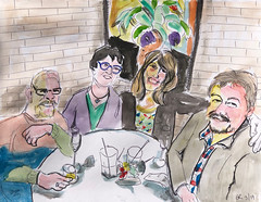 Dinner For 4 (Gila Mosaics n'stuff) Tags: portrait art artist pen watercolor prismacolor quartet jkpp meetup portraitparty friends